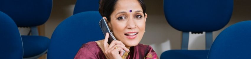 An indian mom receiving a call from the US