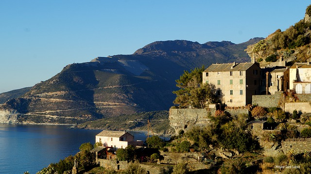 A panoramic view of Corsica, France in the Mediterranean.