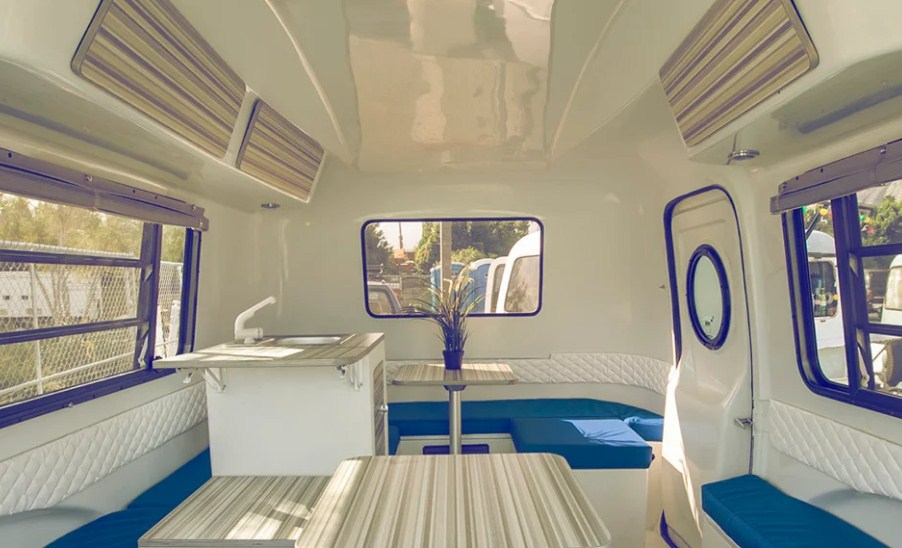 The interiors of a Happier Camper trailer.