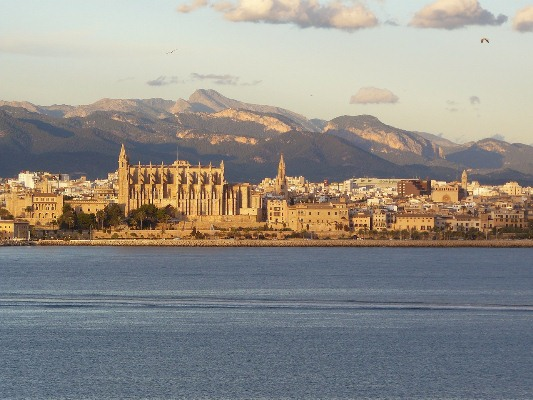 Coastal view of Palma de Mallorca, Spain in the Mediterranean.